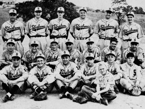 Ed Butka with 1949 Semi Pro Strabane Tomsic Brothers baseball team - top left second spot.png