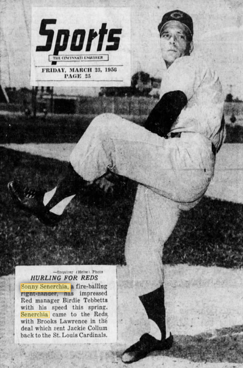 Sonny Senerchia Pitching for Reds in Spring Training 1956