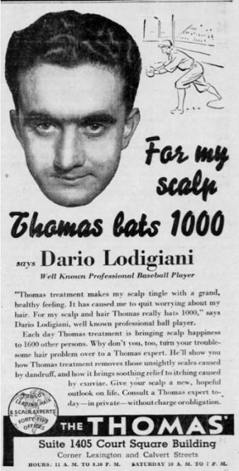 Dario Lodigiani Baltimore Sun Ad 1942
